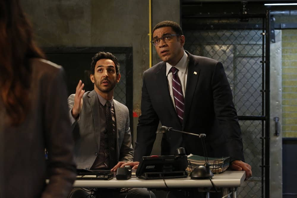 "THE BLACKLIST -- ""Miss Rebecca Thrall (#76)"" Episode 503 -- Pictured: (l-r) Amir Arison as Aram Mojtabai, Harry Lennix as Harold Cooper -- (Photo by: Will Hart/NBC)"
