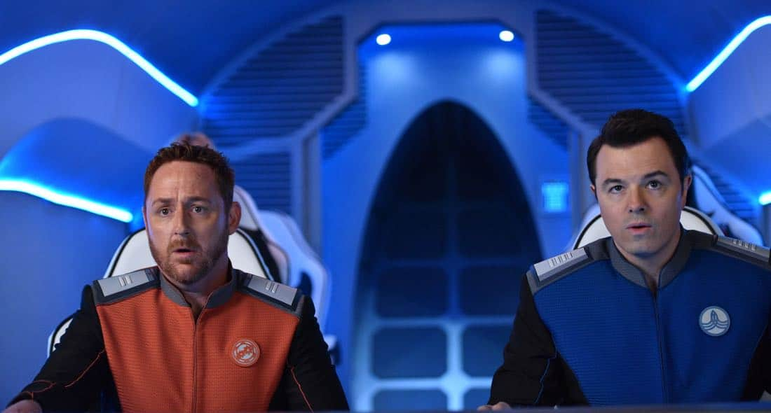 "THE ORVILLE: L-R: Scott Grimes and Seth MacFarlane in the ""Pria"" episode of THE ORVILLE airing Thursday, Oct. 5 (9:01-10:00 PM ET/PT) on FOX. ©2017 Fox Broadcasting Co. Cr: Michael Becker/FOX"