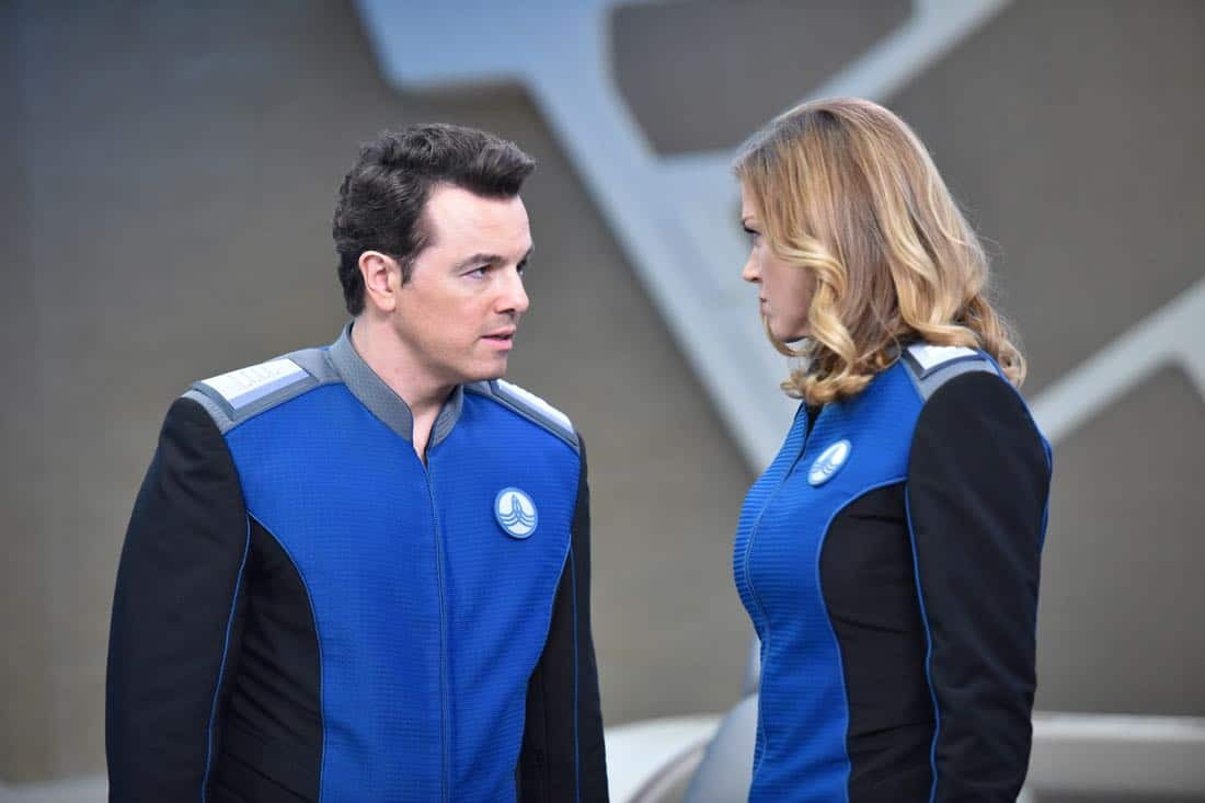 "THE ORVILLE: L-R: Seth MacFarlane and Adrianne Palicki in the ""Pria"" episode of THE ORVILLE airing Thursday, Oct. 5 (9:01-10:00 PM ET/PT) on FOX. ©2017 Fox Broadcasting Co. Cr: Michael Becker/FOX"