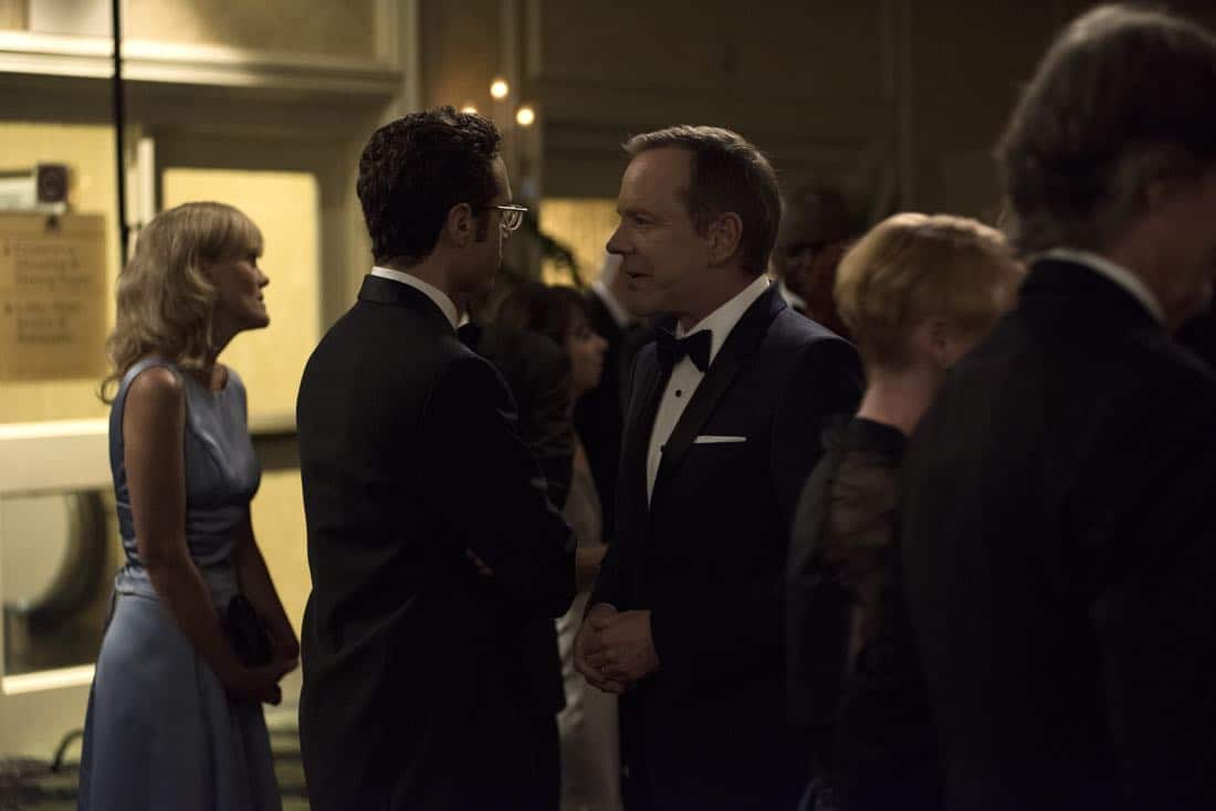 "DESIGNATED SURVIVOR - ""Sting of the Tail"" - FBI Agent Hannah Wells finally closes in on Patrick Lloyd, but when the president decides to take action during the White House Correspondents Dinner, members of the Homeland Security Council threaten to derail their plans, on ""Designated Survivor,"" airing WEDNESDAY, OCTOBER 4 (10:00-11:00 p.m. EDT). (ABC/John Medland) ADAN CANTO, KIEFER SUTHERLAND"