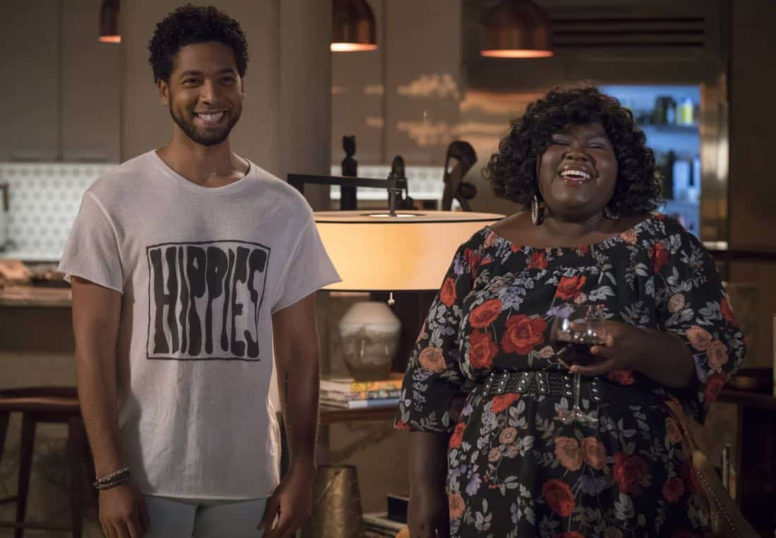 """EMPIRE: Pictured L-R: Jussie Smollett and Gabourey Sidibe in the """"Full Circle"""" episode of Wednesday, Oct. 4 (8:00-9:00 PM ET/PT) on FOX. ©2017 Fox Broadcasting Co. CR: Chuck Hodes/FOX"""