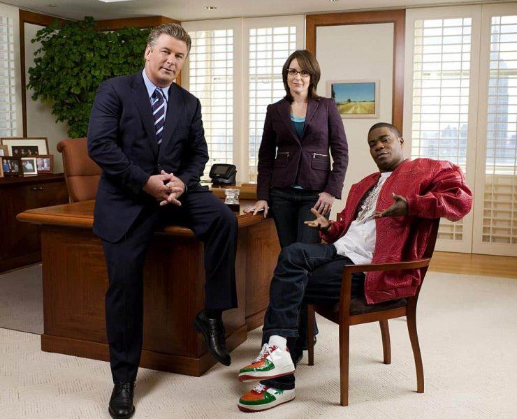 30 ROCK -- Pictured: (l-r) Alec Baldwin as Jack Donaghy, Tina Fey as Liz Lemon, Tracy Morgan as Tracy Jordan