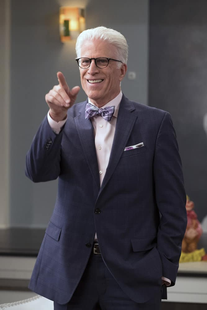 "THE GOOD PLACE -- ""Team Cockroach"" Episode 204 -- Pictured: Ted Danson as Michael -- (Photo by: Colleen Hayes/NBC)"