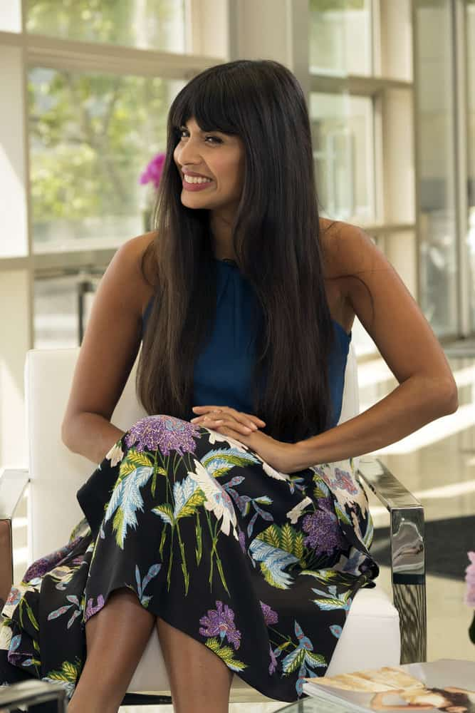 "THE GOOD PLACE -- ""Team Cockroach"" Episode 204 -- Pictured: Jameela Jamil as Tahani -- (Photo by: Colleen Hayes/NBC)"