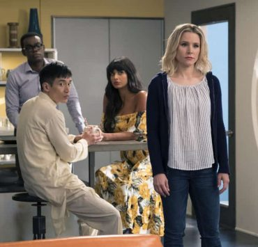 "THE GOOD PLACE -- ""Team Cockroach"" Episode 204 -- Pictured: (l-r) William Jackson Harper as Chidi, Manny Jacinto as Jianyu, Jameela Jamil as Tahani, Kristen Bell as Eleanor Shellstrop -- (Photo by: Colleen Hayes/NBC)"