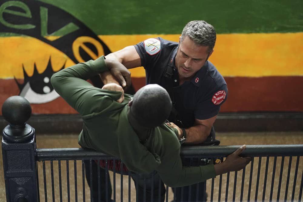 """CHICAGO FIRE -- """"Ignite on Contact"""" -- Episode 602 -- Pictured: (l-r) Taylor Kinney as Kelly Severide, Stefan Holdbrook as Mateo -- (Photo by: Elizabeth Morris/NBC)"""