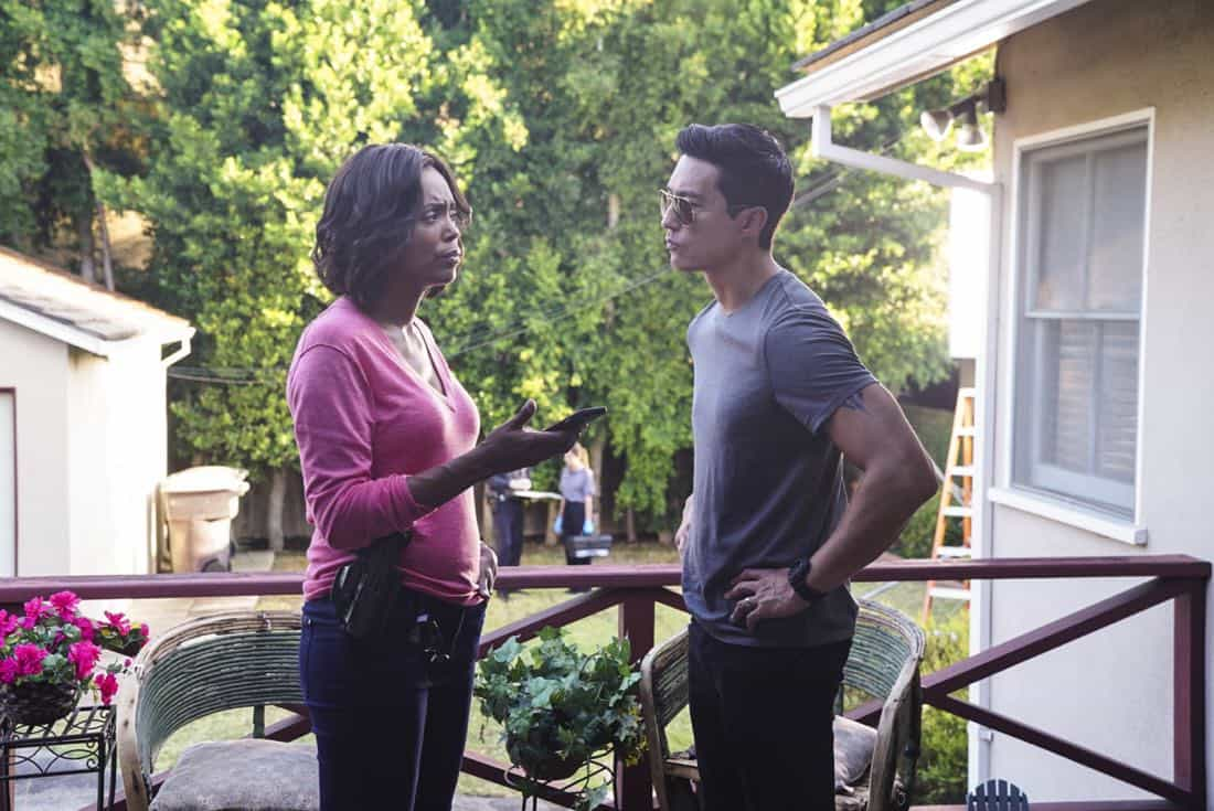 """""""To A Better Place"""" -- The BAU investigates three similar crimes in which victims' remains are discovered in old suitcases, on CRIMINAL MINDS, Wednesday, Oct. 4 (10:00-11:00 PM, ET/PT) on the CBS Television Network.  Pictured: Aisha Tyler (Dr. Tara Lewis), Daniel Henney (Matt Simmons)   Photo: Sonja Flemming/CBS ©2017 CBS Broadcasting, Inc. All Rights Reserved"""