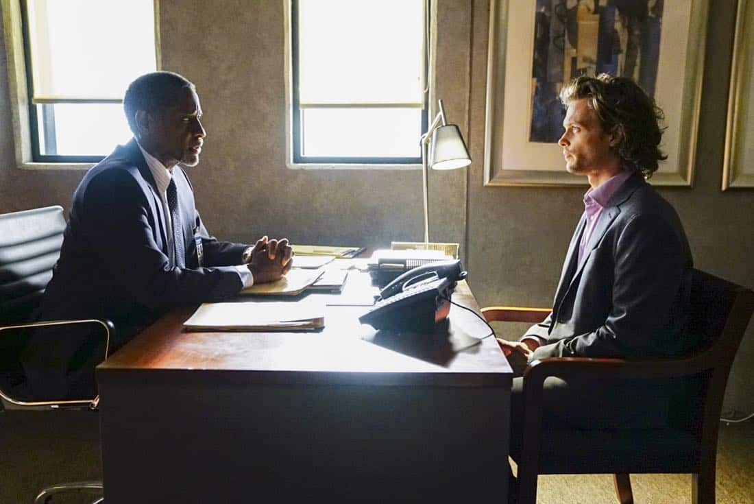 """""""To A Better Place"""" -- The BAU investigates three similar crimes in which victims' remains are discovered in old suitcases, on CRIMINAL MINDS, Wednesday, Oct. 4 (10:00-11:00 PM, ET/PT) on the CBS Television Network.  Pictured: Tim Russ (Agent Lawrence), Matthew Gray Gubler (Dr. Reid)   Photo: Sonja Flemming/CBS ©2017 CBS Broadcasting, Inc. All Rights Reserved"""
