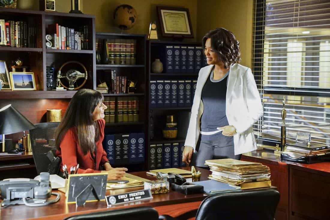 """""""To A Better Place"""" -- The BAU investigates three similar crimes in which victims' remains are discovered in old suitcases, on CRIMINAL MINDS, Wednesday, Oct. 4 (10:00-11:00 PM, ET/PT) on the CBS Television Network.  Pictured: Paget Brewster (Emily Prentiss), Aisha Tyler (Dr. Tara Lewis)   Photo: Sonja Flemming/CBS ©2017 CBS Broadcasting, Inc. All Rights Reserved"""