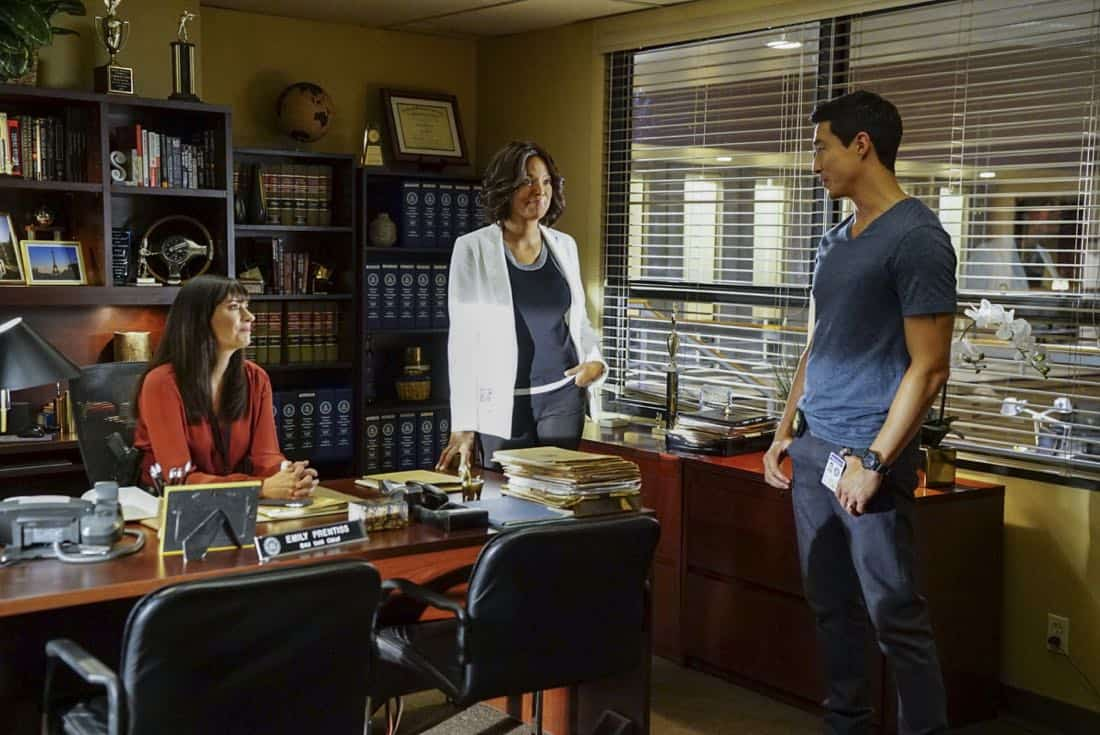 """""""To A Better Place"""" -- The BAU investigates three similar crimes in which victims' remains are discovered in old suitcases, on CRIMINAL MINDS, Wednesday, Oct. 4 (10:00-11:00 PM, ET/PT) on the CBS Television Network. Pictured: Paget Brewster (Emily Prentiss), Aisha Tyler (Dr. Tara Lewis), Daniel Henney (Matt Simmons) Photo: Sonja Flemming/CBS ©2017 CBS Broadcasting, Inc. All Rights Reserved"""