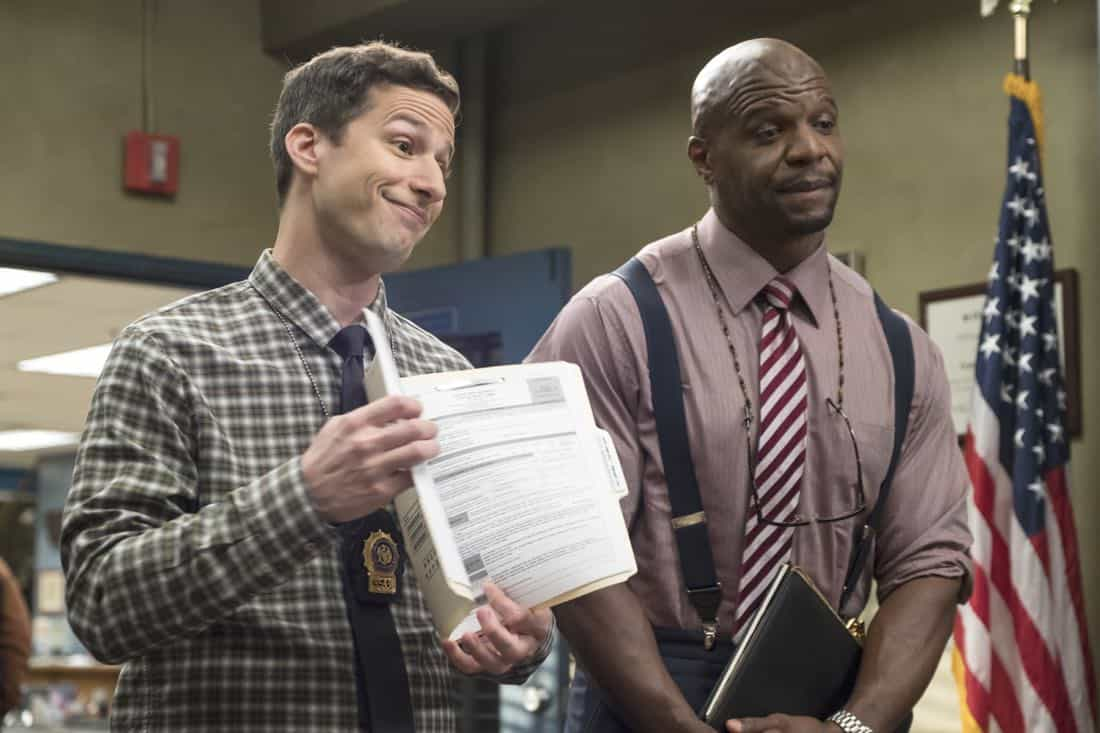 "BROOKLYN NINE-NINE: L-R: Andy Samberg and Terry Crews in the ""Bad Beat"" episode of BROOKLYN NINE-NINE airing Tuesday, Oct. 31 (9:30-10:00 PM ET/PT) on FOX. CR: Jordin Althaus / FOX"