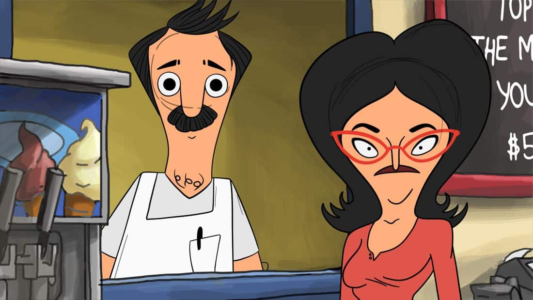 "BOB'S BURGERS: Bob's Burgers begins serving brunch. Meanwhile, Tina, Gene and Louise help Mr. Fischoeder's brother hide from him in the ""Brunchsquatch"" premiere episode of BOB'S BURGERS, which features animation inspired by fan-created artwork, airing Sunday, Oct. 1 (7:30-8:00PM ET/PT) on FOX. BOB'S BURGERS ™ and © 2017 TCFFC ALL RIGHTS RESERVED. CR: FOX"