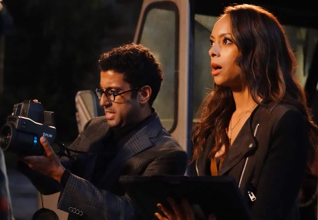 "GHOSTED: Pictured L-R: Adeel Akhtar and Amber Stevens West in the ""Jermaine the Zombie"" episode of GHOSTED airing Sunday, Oct. 8 (8:30-9:00 PM ET/PT) on FOX. ©2017 Fox Broadcasting Co. CR: Kevin Estrada/FOX"