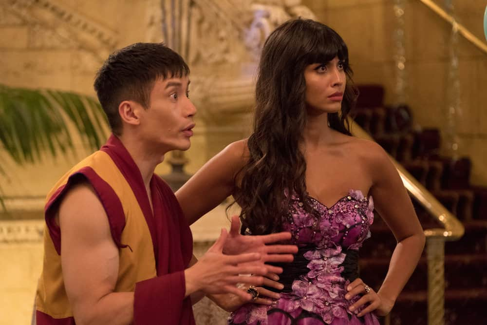 "THE GOOD PLACE -- ""Existential Crisis"" Episode 205 -- Pictured: (l-r) Manny Jacinto as Jianyu, Jameela Jamil as Tehani -- (Photo by: Colleen Hayes/NBC)"