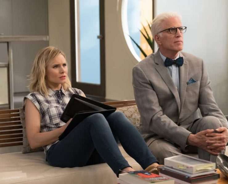 """THE GOOD PLACE -- """"Existential Crisis"""" Episode 205 -- Pictured: (l-r) Kristen Bell as Eleanor, Ted Danson as Michael -- (Photo by: Colleen Hayes/NBC)"""