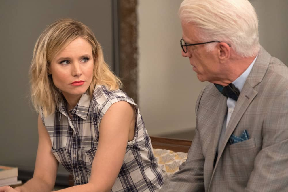 "THE GOOD PLACE -- ""Existential Crisis"" Episode 205 -- Pictured: (l-r) Kristen Bell as Eleanor, Ted Danson as Michael -- (Photo by: Colleen Hayes/NBC)"