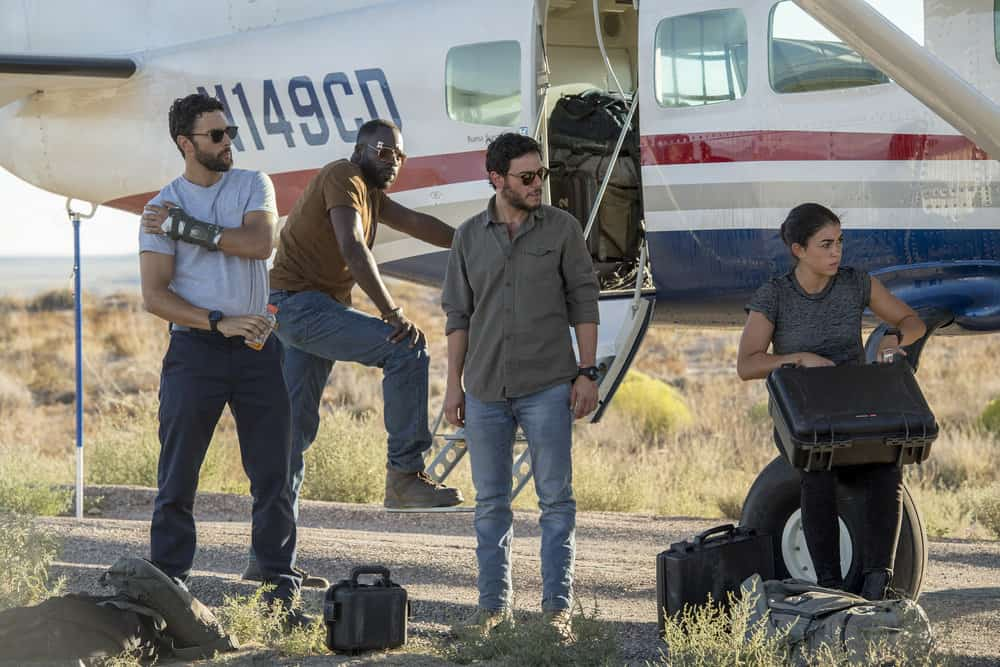 "THE BRAVE -- ""The Greater Good"" Episode 103 -- Pictured: (l-r) Noah Mills as Sergeant Joseph ""McG"" McGuire, Demetrius Grosse as CPO Ezekiel ""Preach"" Carter, Hadi Tabbal as Agent Amir Al-Raisani, Natacha Karam as Sergeant Jasmine ""Jaz"" Khan -- (Photo by: Lewis Jacobs/NBC)"