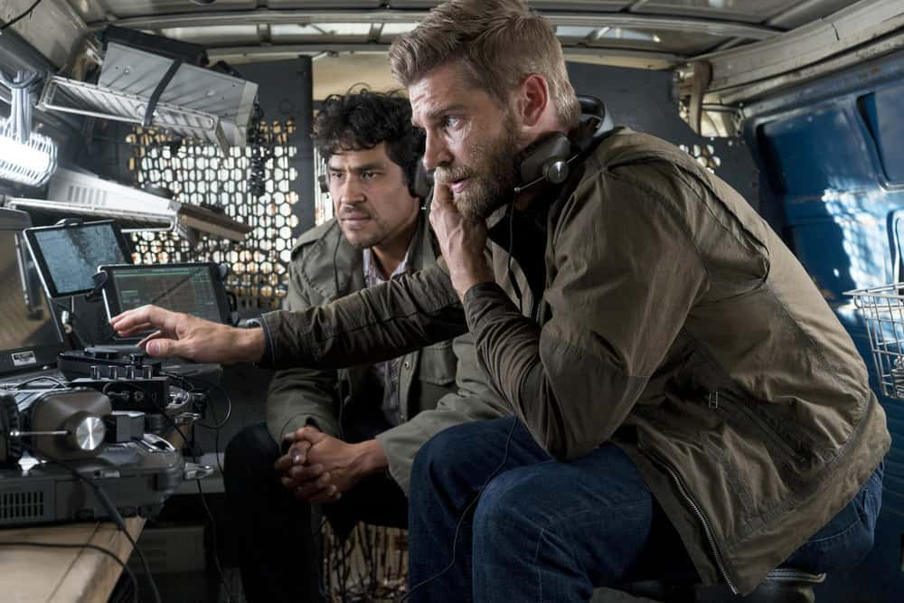 "THE BRAVE -- ""The Greater Good"" Episode 105 -- Pictured: (l-r) Lakin Valdez as Hugo Vargez, Mike Vogel as Captian Adam Dalton -- (Photo by: Lewis Jacobs/NBC)"