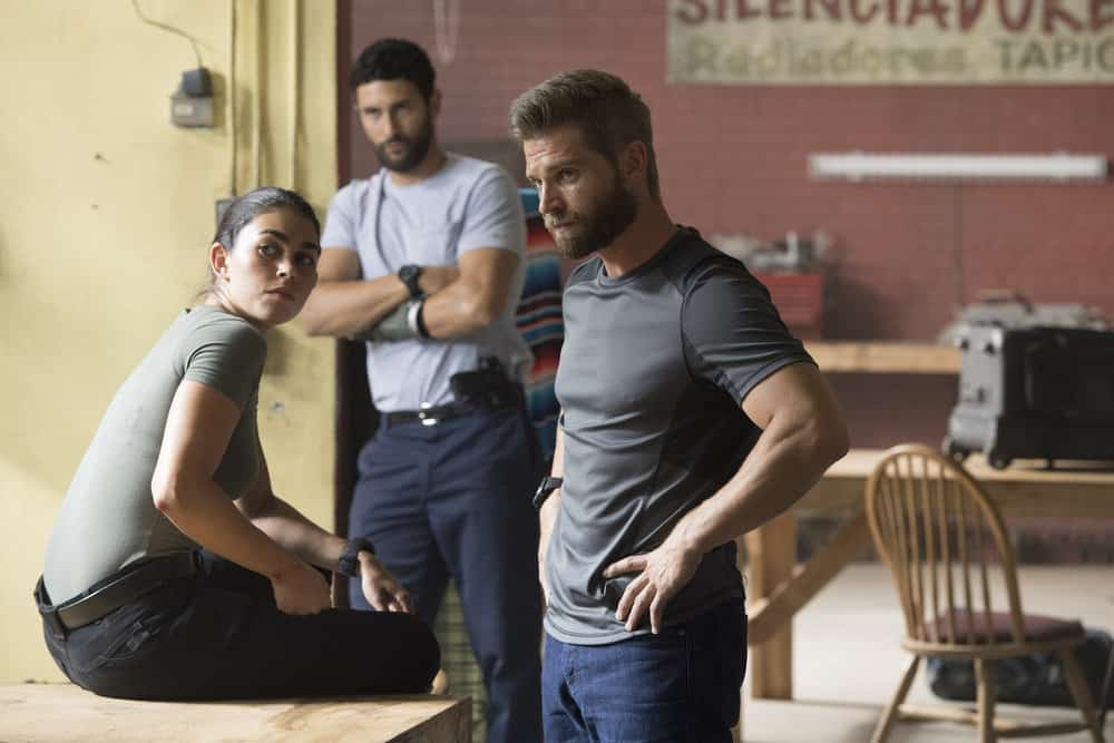 "THE BRAVE -- ""The Greater Good"" Episode 103 -- Pictured: (l-r) Natacha Karam as Sergeant Jasmine ""Jaz"" Khan, Noah Mills as Sergeant Joseph ""McG"" McGuire, Mike Vogel as Captian Adam Dalton -- (Photo by: Lewis Jacobs/NBC)"