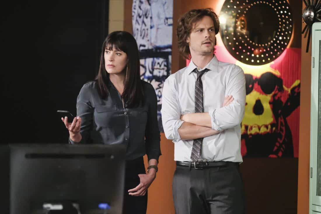"""""""Killer App"""" -- The BAU investigates a workplace shooting committed by a state-of-the-art drone in Silicon Valley, on CRIMINAL MINDS, Wednesday, Oct. 11 (10:00-11:00 PM, ET/PT) on the CBS Television Network.  Pictured: Paget Brewster (Emily Prentiss), Matthew Gray Gubler (Dr. Reid)   Photo: Darren Michaels/CBS ©2017 CBS Broadcasting, Inc. All Rights Reserved"""