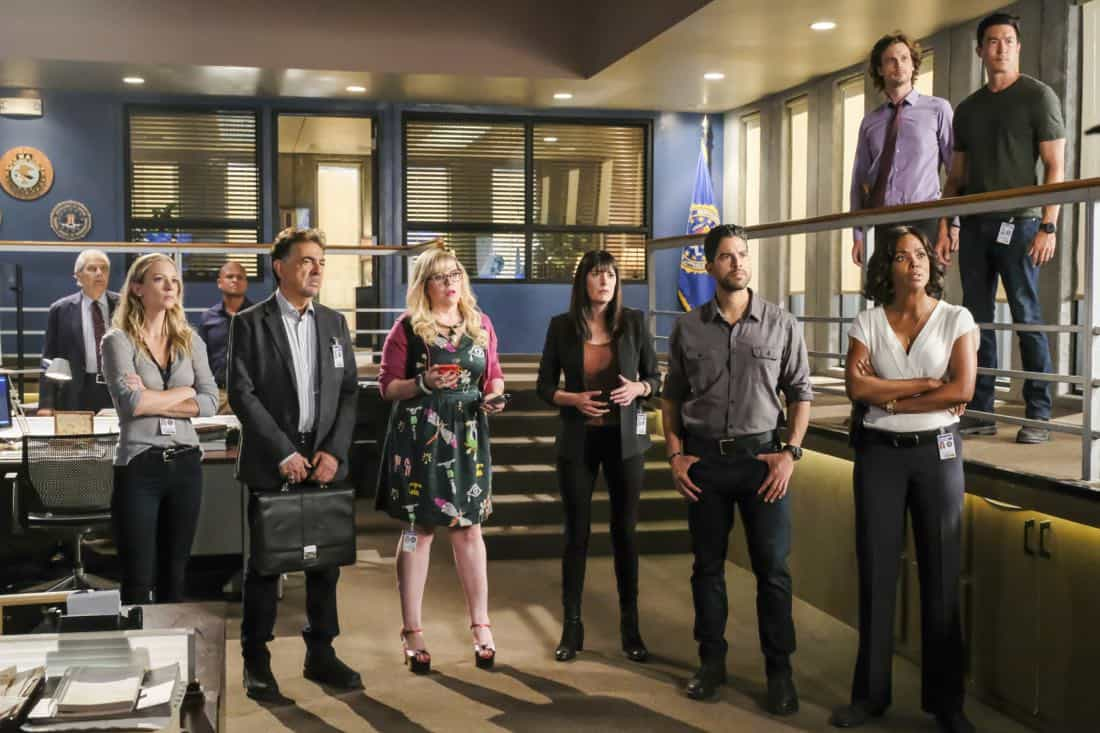 """""""Killer App"""" -- The BAU investigates a workplace shooting committed by a state-of-the-art drone in Silicon Valley, on CRIMINAL MINDS, Wednesday, Oct. 11 (10:00-11:00 PM, ET/PT) on the CBS Television Network. Pictured: A.J. Cook (Jennifer Jareau), Joe Mantegna (David Rossi), Kirsten Vangsness (Penelope Garcia), Paget Brewster (Emily Prentiss), Adam Rodriguez (Luke Alvez), Aisha Tyler (Dr. Tara Lewis), Matthew Gray Gubler (Dr. Reid), Daniel Henney (Matt Simmons) Photo: Darren Michaels/CBS ©2017 CBS Broadcasting, Inc. All Rights Reserved"""