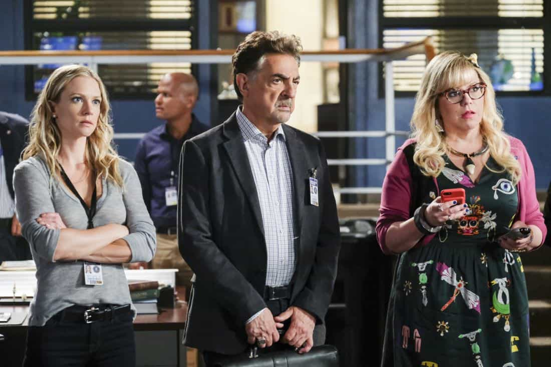 """""""Killer App"""" -- The BAU investigates a workplace shooting committed by a state-of-the-art drone in Silicon Valley, on CRIMINAL MINDS, Wednesday, Oct. 11 (10:00-11:00 PM, ET/PT) on the CBS Television Network.  Pictured: A.J. Cook (Jennifer Jareau), Joe Mantegna (David Rossi), Kirsten Vangsness (Penelope Garcia)   Photo: Darren Michaels/CBS ©2017 CBS Broadcasting, Inc. All Rights Reserved"""