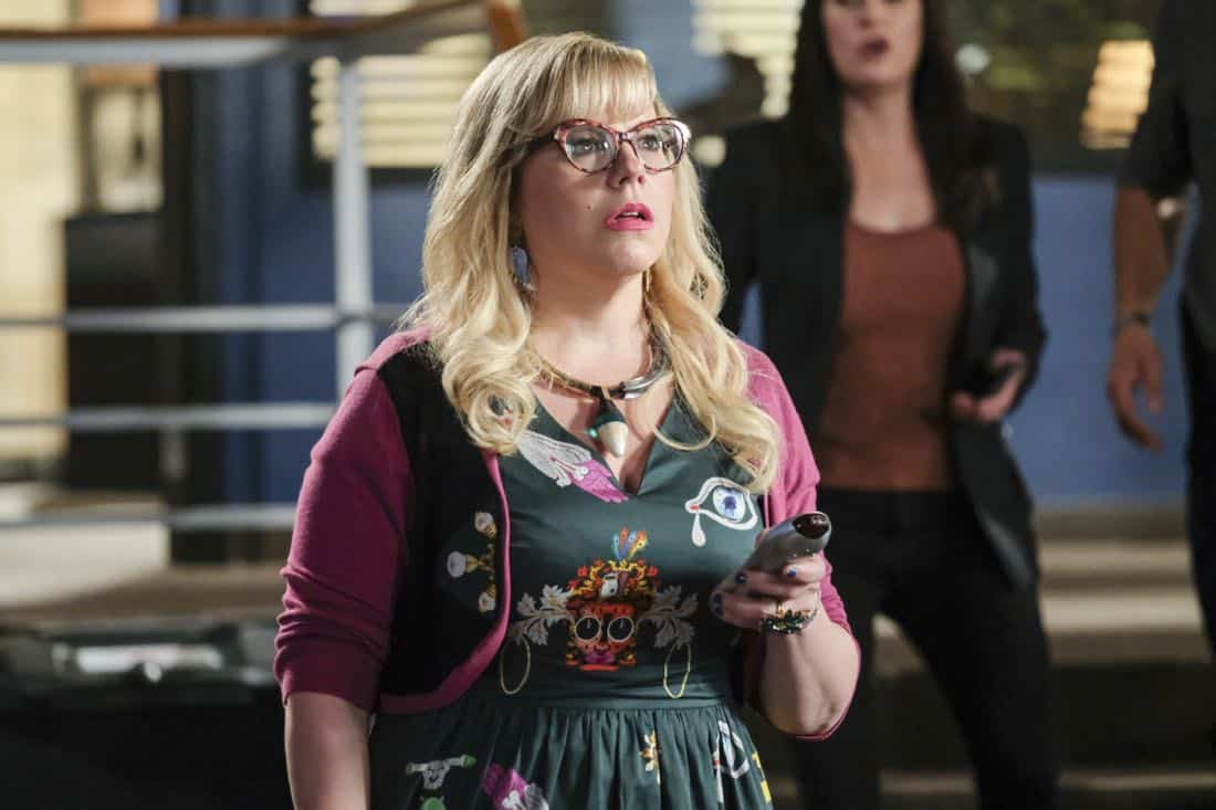 """""""Killer App"""" -- The BAU investigates a workplace shooting committed by a state-of-the-art drone in Silicon Valley, on CRIMINAL MINDS, Wednesday, Oct. 11 (10:00-11:00 PM, ET/PT) on the CBS Television Network.  Pictured: Kirsten Vangsness (Penelope Garcia)   Photo: Darren Michaels/CBS ©2017 CBS Broadcasting, Inc. All Rights Reserved"""