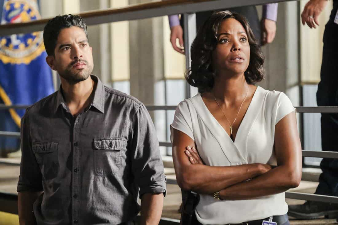 """""""Killer App"""" -- The BAU investigates a workplace shooting committed by a state-of-the-art drone in Silicon Valley, on CRIMINAL MINDS, Wednesday, Oct. 11 (10:00-11:00 PM, ET/PT) on the CBS Television Network.  Pictured: Adam Rodriguez (Luke Alvez), Aisha Tyler (Dr. Tara Lewis)   Photo: Darren Michaels/CBS ©2017 CBS Broadcasting, Inc. All Rights Reserved"""