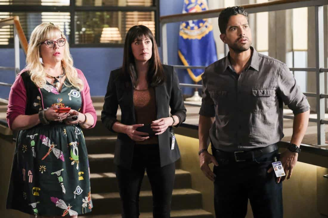 """""""Killer App"""" -- The BAU investigates a workplace shooting committed by a state-of-the-art drone in Silicon Valley, on CRIMINAL MINDS, Wednesday, Oct. 11 (10:00-11:00 PM, ET/PT) on the CBS Television Network.  Pictured: Kirsten Vangsness (Penelope Garcia), Paget Brewster (Emily Prentiss), Adam Rodriguez (Luke Alvez)   Photo: Darren Michaels/CBS ©2017 CBS Broadcasting, Inc. All Rights Reserved"""
