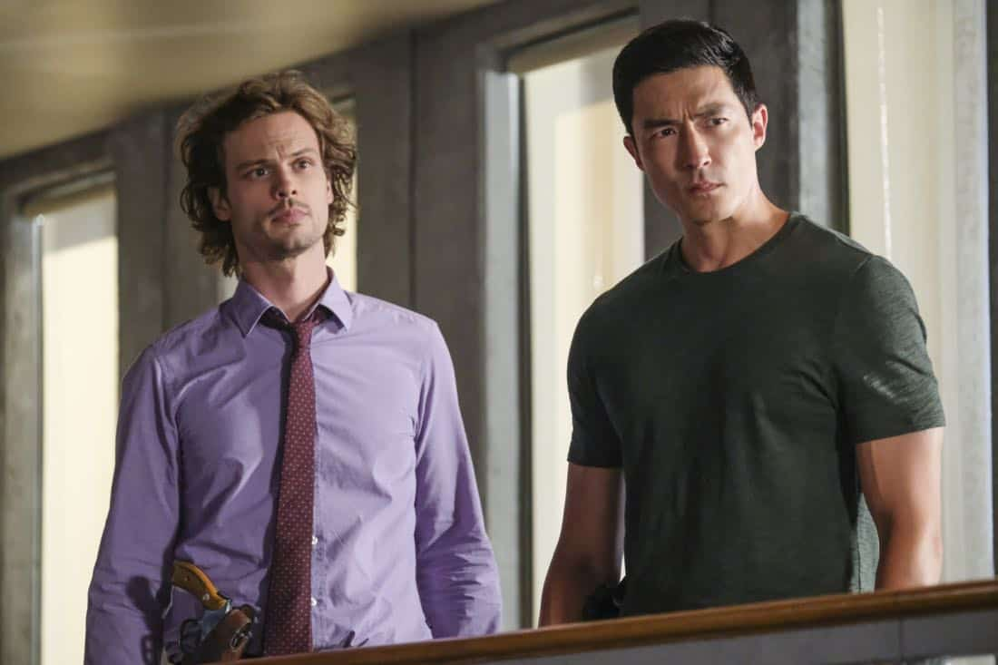 """""""Killer App"""" -- The BAU investigates a workplace shooting committed by a state-of-the-art drone in Silicon Valley, on CRIMINAL MINDS, Wednesday, Oct. 11 (10:00-11:00 PM, ET/PT) on the CBS Television Network.  Pictured: Matthew Gray Gubler (Dr. Reid), Daniel Henney (Matt Simmons)   Photo: Darren Michaels/CBS ©2017 CBS Broadcasting, Inc. All Rights Reserved"""