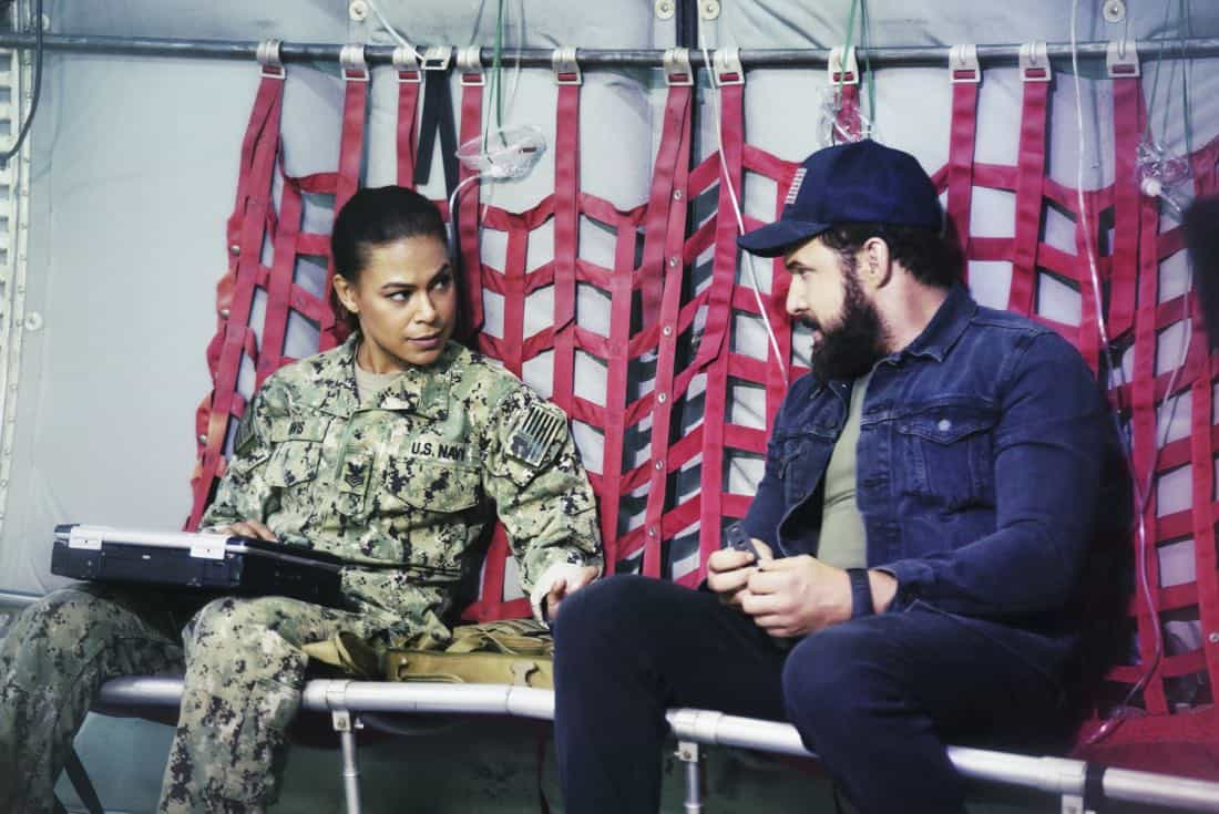 """""""Boarding Party"""" -- Jason and the SEAL team must rescue a group of researchers being held hostage on a ship in the South China Sea. Also, Clay is ranked in the """"bottom five"""" of his class, jeopardizing his future as a SEAL, on SEAL TEAM, Wednesday, Oct. 11 (9:00-10:00 PM, ET/PT) on the CBS Television Network. Pictured left to right: Toni Trucks as Lisa Davis and AJ Buckley as Sonny Quinn. Photo: Monty Brinton/CBS ©2017 CBS Broadcasting, Inc. All Rights Reserved"""