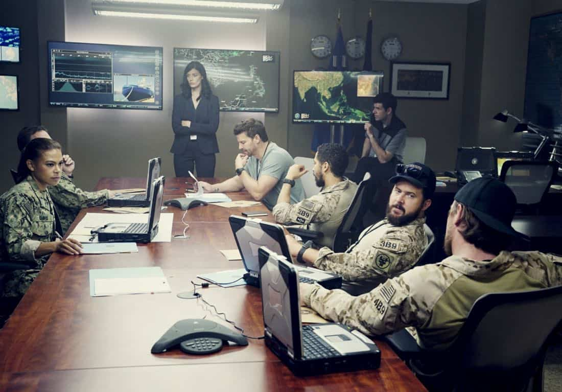 """""""Boarding Party"""" -- Jason and the SEAL team must rescue a group of researchers being held hostage on a ship in the South China Sea. Also, Clay is ranked in the """"bottom five"""" of his class, jeopardizing his future as a SEAL, on SEAL TEAM, Wednesday, Oct. 11 (9:00-10:00 PM, ET/PT) on the CBS Television Network. Pictured left to right: Toni Trucks as Lisa Davis, Judd Lormand as Blackburn, Jessica Paré as Mandy Ellis, Johnathan McClain as Sam Roberts, David Boreanaz as Jason Hayes and Neil Brown Jr. as Ray Perry and AJ Buckley as Sonny Quinn. Photo: Monty Brinton/CBS ©2017 CBS Broadcasting, Inc. All Rights Reserved"""