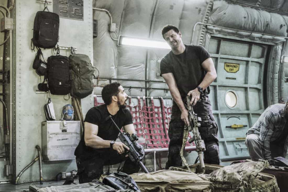 """""""Boarding Party"""" -- Jason and the SEAL team must rescue a group of researchers being held hostage on a ship in the South China Sea. Also, Clay is ranked in the """"bottom five"""" of his class, jeopardizing his future as a SEAL, on SEAL TEAM, Wednesday, Oct. 11 (9:00-10:00 PM, ET/PT) on the CBS Television Network. Pictured left to right: Neil Brown Jr. as Ray Perry, David Boreanaz as Jason Hayes. Photo: Monty Brinton/CBS ©2017 CBS Broadcasting, Inc. All Rights Reserved"""