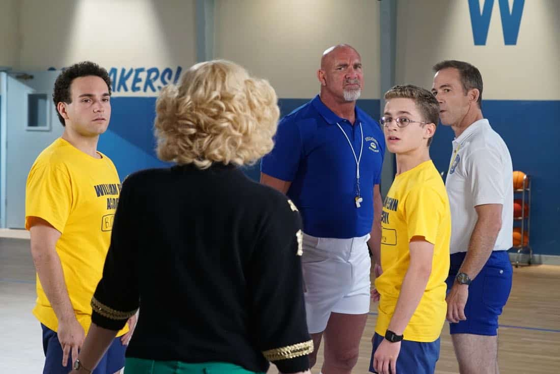 "THE GOLDBERGS- ""Goldberg On The Goldbergs"" - Beverly confronts Coach Mellor who reveals his strained relationship with his own brother Coach Nick, so she intervenes prompting Nick to face off with Rick. Adam and Barry join in, each one siding with one of the coaches. After a fight breaks out, Beverly points out to Adam and Barry this could be them as adults. Meanwhile, Geoff and Erica struggle with their relationship long distance, on ""The Goldbergs,"" WEDNESDAY, OCTOBER 11 (8:00-8:30 p.m. EDT), on The ABC Television Network. (ABC/Ron Tom) TROY GENTILE, BILL GOLDBERG, SEAN GIAMBRONE, BRYAN CALLEN"