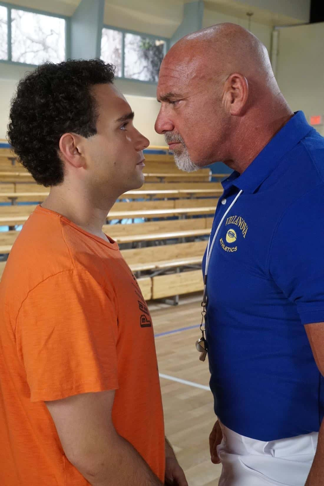 "THE GOLDBERGS- ""Goldberg On The Goldbergs"" - Beverly confronts Coach Mellor who reveals his strained relationship with his own brother Coach Nick, so she intervenes prompting Nick to face off with Rick. Adam and Barry join in, each one siding with one of the coaches. After a fight breaks out, Beverly points out to Adam and Barry this could be them as adults. Meanwhile, Geoff and Erica struggle with their relationship long distance, on ""The Goldbergs,"" WEDNESDAY, OCTOBER 11 (8:00-8:30 p.m. EDT), on The ABC Television Network. (ABC/Ron Tom) TROY GENTILE, BILL GOLDBERG"