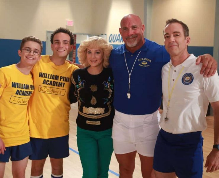 """THE GOLDBERGS- """"Goldberg On The Goldbergs"""" - Beverly confronts Coach Mellor who reveals his strained relationship with his own brother Coach Nick, so she intervenes prompting Nick to face off with Rick. Adam and Barry join in, each one siding with one of the coaches. After a fight breaks out, Beverly points out to Adam and Barry this could be them as adults. Meanwhile, Geoff and Erica struggle with their relationship long distance, on """"The Goldbergs,"""" WEDNESDAY, OCTOBER 11 (8:00-8:30 p.m. EDT), on The ABC Television Network. (ABC/Ron Tom) SEAN GIAMBRONE, TROY GENTILE, WENDI MCLENDON-COVEY, BILL GOLDBERG, BRYAN CALLEN"""