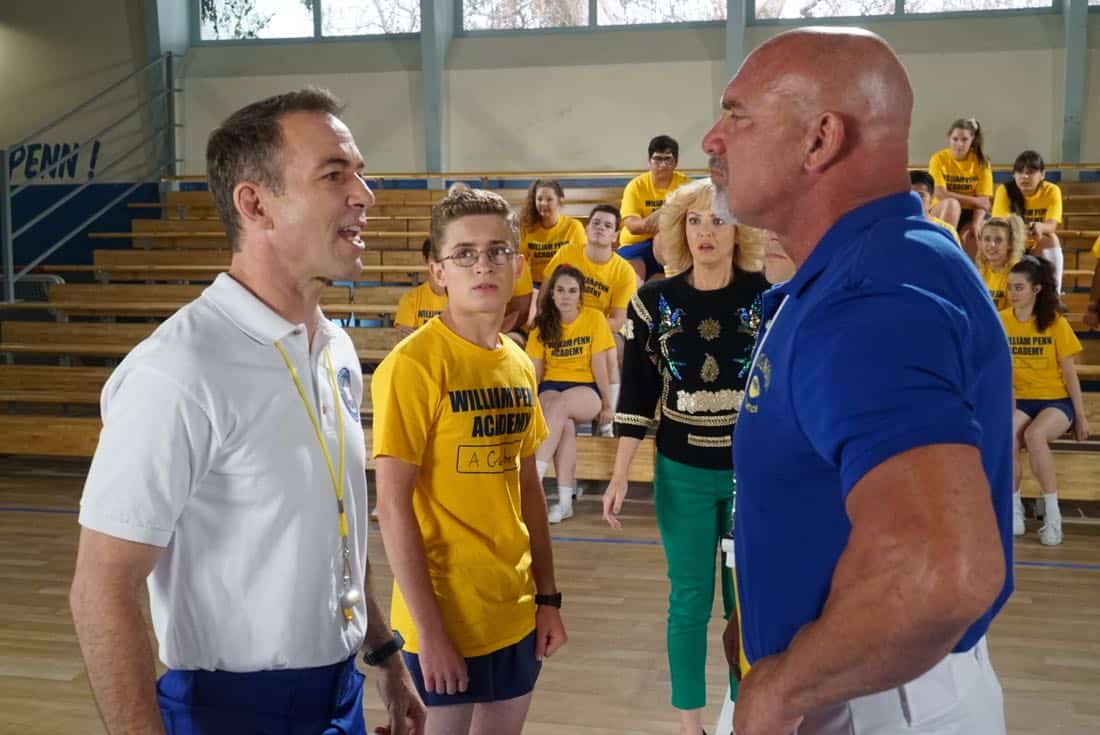 "THE GOLDBERGS- ""Goldberg On The Goldbergs"" - Beverly confronts Coach Mellor who reveals his strained relationship with his own brother Coach Nick, so she intervenes prompting Nick to face off with Rick. Adam and Barry join in, each one siding with one of the coaches. After a fight breaks out, Beverly points out to Adam and Barry this could be them as adults. Meanwhile, Geoff and Erica struggle with their relationship long distance, on ""The Goldbergs,"" WEDNESDAY, OCTOBER 11 (8:00-8:30 p.m. EDT), on The ABC Television Network. (ABC/Ron Tom) BRYAN CALLEN, SEAN GIAMBRONE, WENDI MCLENDON-COVEY, BILL GOLDBERG"