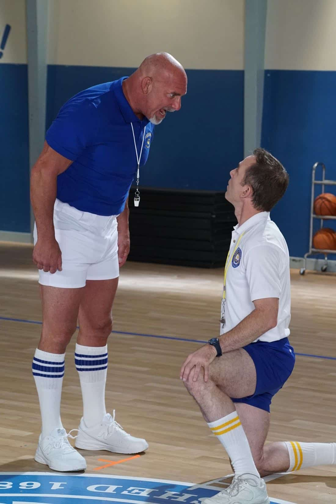 "THE GOLDBERGS- ""Goldberg On The Goldbergs"" - Beverly confronts Coach Mellor who reveals his strained relationship with his own brother Coach Nick, so she intervenes prompting Nick to face off with Rick. Adam and Barry join in, each one siding with one of the coaches. After a fight breaks out, Beverly points out to Adam and Barry this could be them as adults. Meanwhile, Geoff and Erica struggle with their relationship long distance, on ""The Goldbergs,"" WEDNESDAY, OCTOBER 11 (8:00-8:30 p.m. EDT), on The ABC Television Network. (ABC/Ron Tom) BILL GOLDBERG, BRYAN CALLEN"