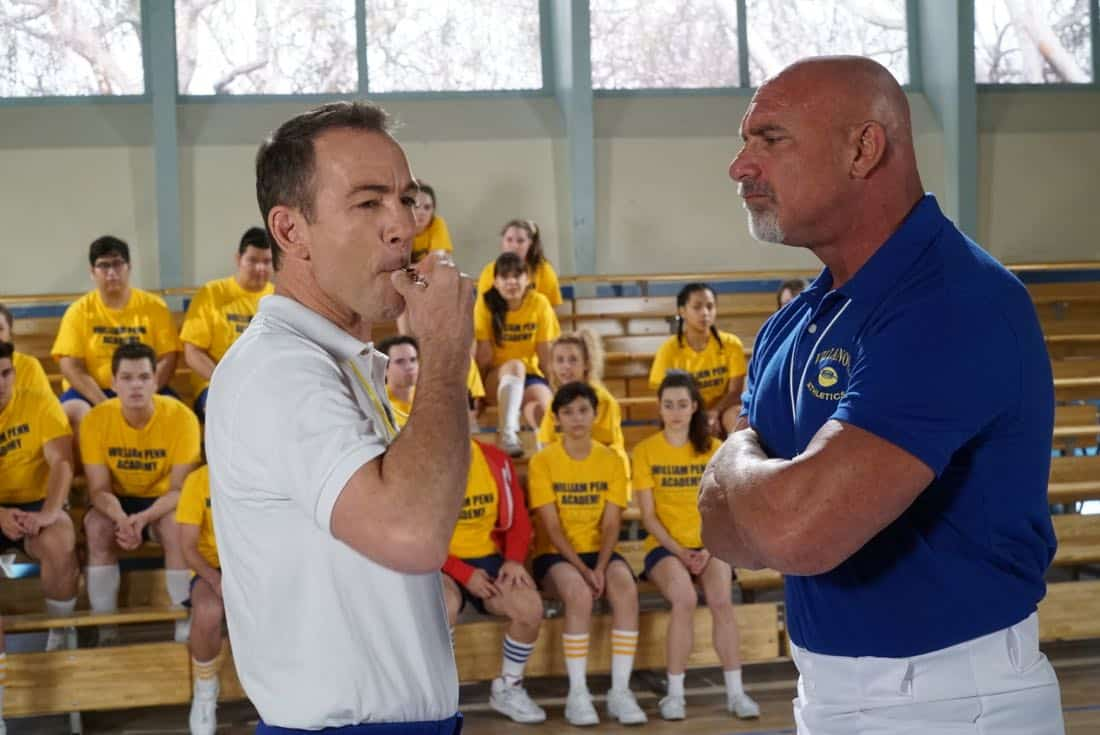 "THE GOLDBERGS- ""Goldberg On The Goldbergs"" - Beverly confronts Coach Mellor who reveals his strained relationship with his own brother Coach Nick, so she intervenes prompting Nick to face off with Rick. Adam and Barry join in, each one siding with one of the coaches. After a fight breaks out, Beverly points out to Adam and Barry this could be them as adults. Meanwhile, Geoff and Erica struggle with their relationship long distance, on ""The Goldbergs,"" WEDNESDAY, OCTOBER 11 (8:00-8:30 p.m. EDT), on The ABC Television Network. (ABC/Ron Tom) BRYAN CALLEN, BILL GOLDBERG"
