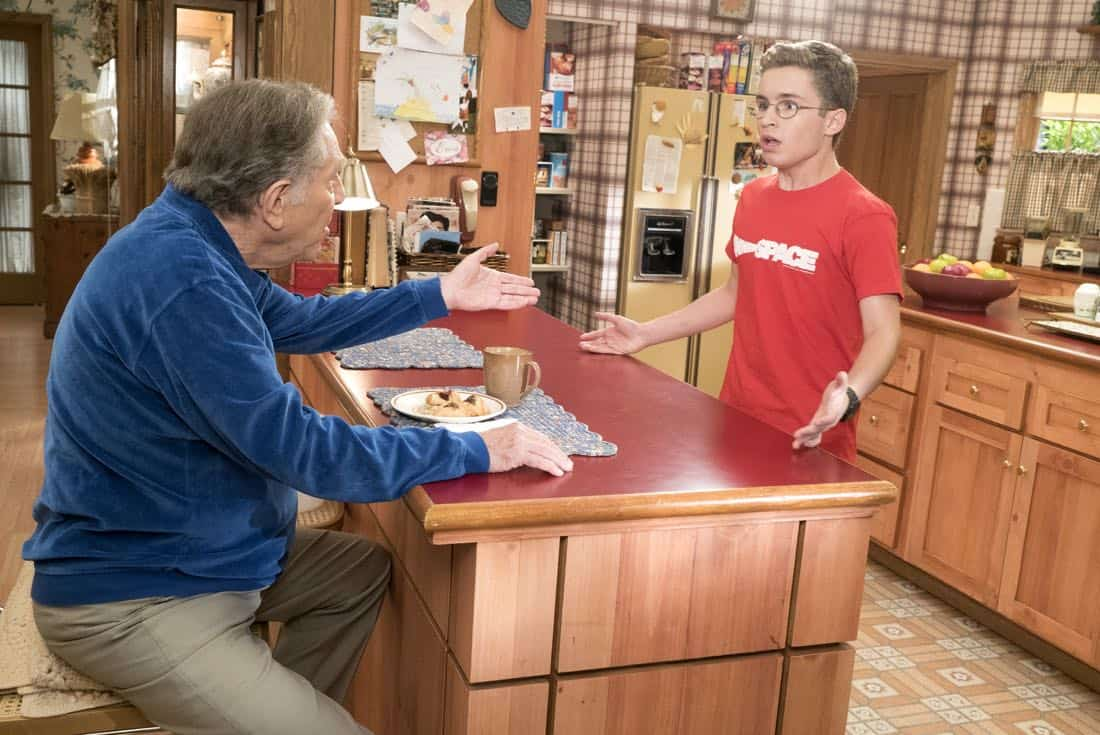 """THE GOLDBERGS - """"Hogan Is My Grandfather"""" - Adam is assigned a term paper on a great person in history, and he decides to make a movie about his grandfather but finds all of Pop's war stories mundane.  Pops takes matters into his own hands and decides to tell more exciting stories based on an old television series. Meanwhile, Erica returns home to confront Beverly for over-mothering her. Murray insists Beverly teach Erica and Barry basic life skills, but she worries Erica and Barry will be too independent, on """"The Goldbergs,"""" WEDNESDAY, OCTOBER 4 (8:00-8:30 p.m. EDT), on The ABC Television Network. (ABC/Ron Tom) GEORGE SEGAL, SEAN GIAMBRONE"""