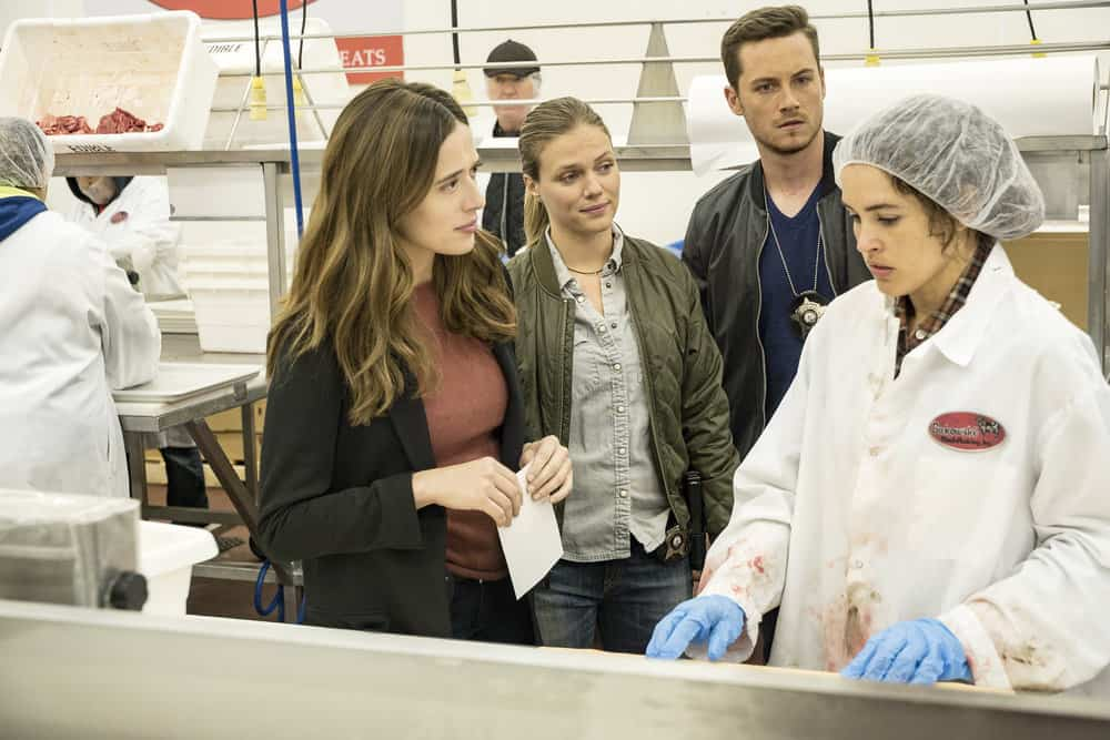 "CHICAGO P.D. -- ""Promise"" Episode 503 -- Pictured: (l-r) Marina Squerciati as Kim Burgess, Tracy Spiridakos as Hailey Upton, Jesse Lee Soffer as Jay Halstead, Susana Victoria Perez as Lucia -- (Photo by: Matt Dinerstein/NBC)"