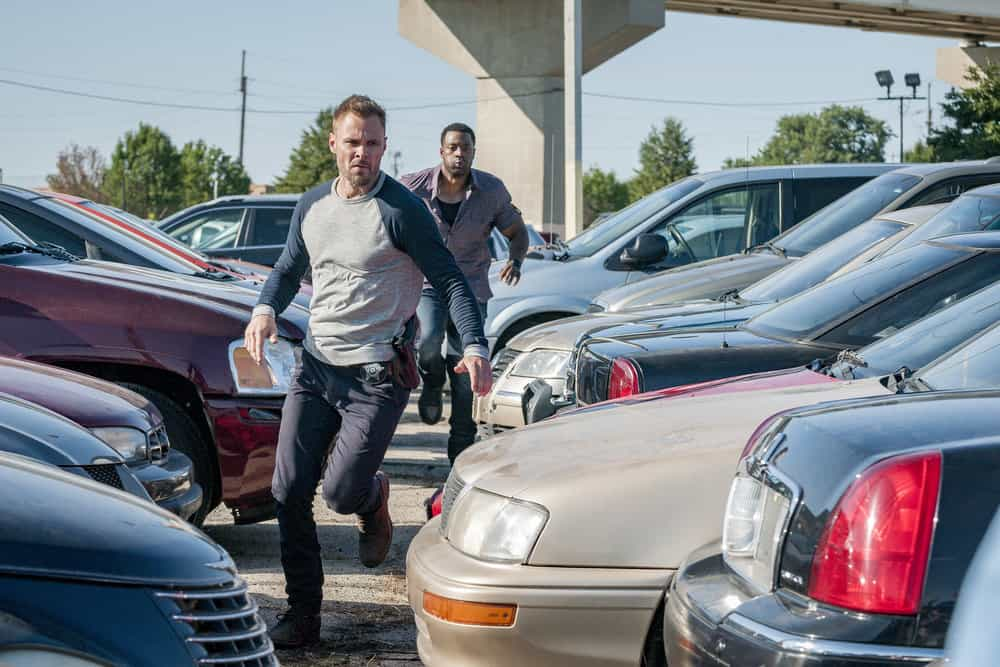 "CHICAGO P.D. -- ""Promise"" Episode 503 -- Pictured: (l-r) Patrick John Flueger as Adam Ruzek, LaRoyce Hawkins as Kevin Atwater -- (Photo by: Matt Dinerstein/NBC)"