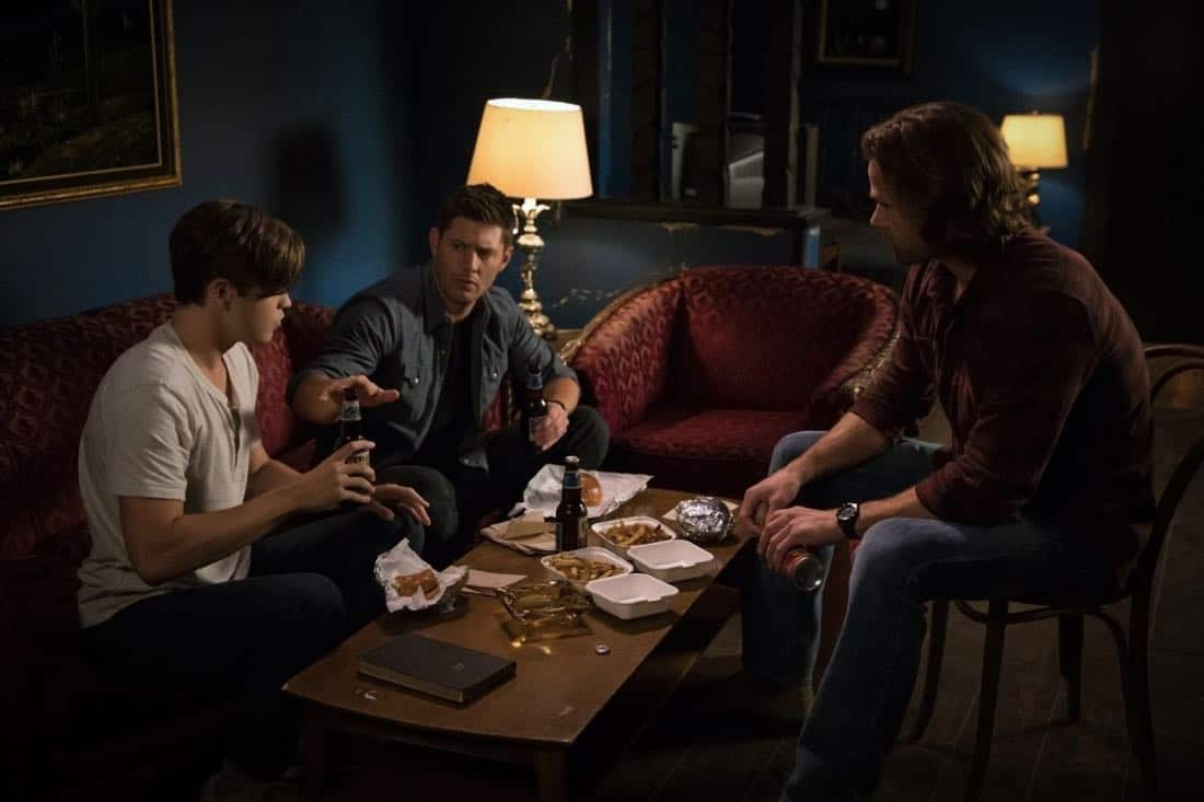 "Supernatural -- ""The Rising Son"" -- Image Number: SN1302b_0117.jpg -- Pictured (L-R): Alexander Calvert as Jack, Jensen Ackles as Dean and Jared Padalecki as Sam -- Photo: Jack Rowand/The CW -- © 2017 The CW Network, LLC All Rights Reserved."
