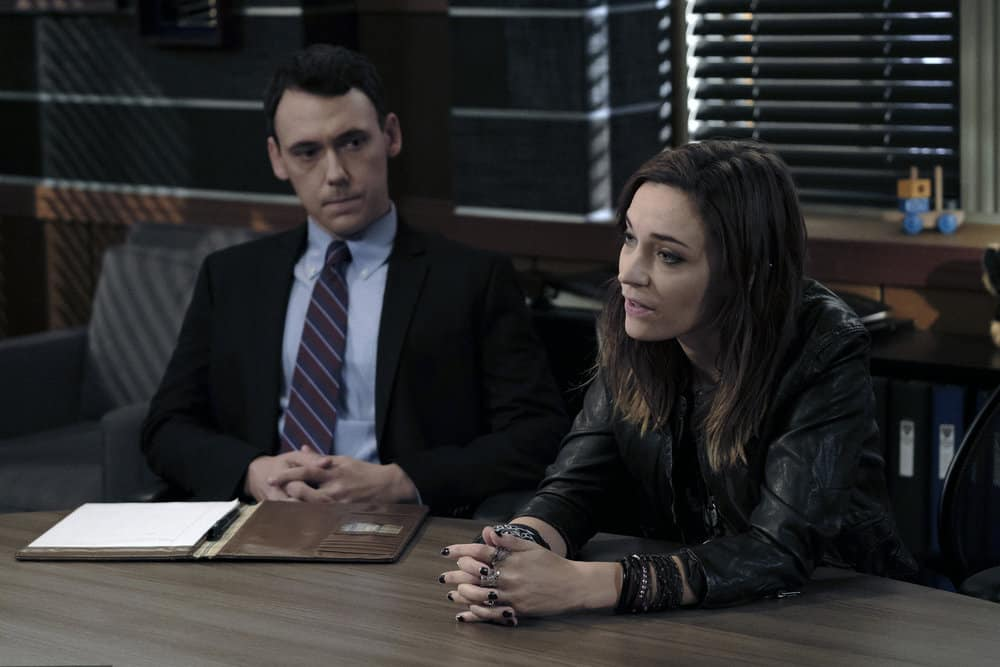 """LAW & ORDER: SPECIAL VICTIMS UNIT -- """"Contrapasso"""" Episode 1903 -- Pictured: (l-r) John Skelley as Jeffrey Manning, Kathleen Munroe as Evelyn Bundy -- (Photo by Christopher Saunders/NBC)"""