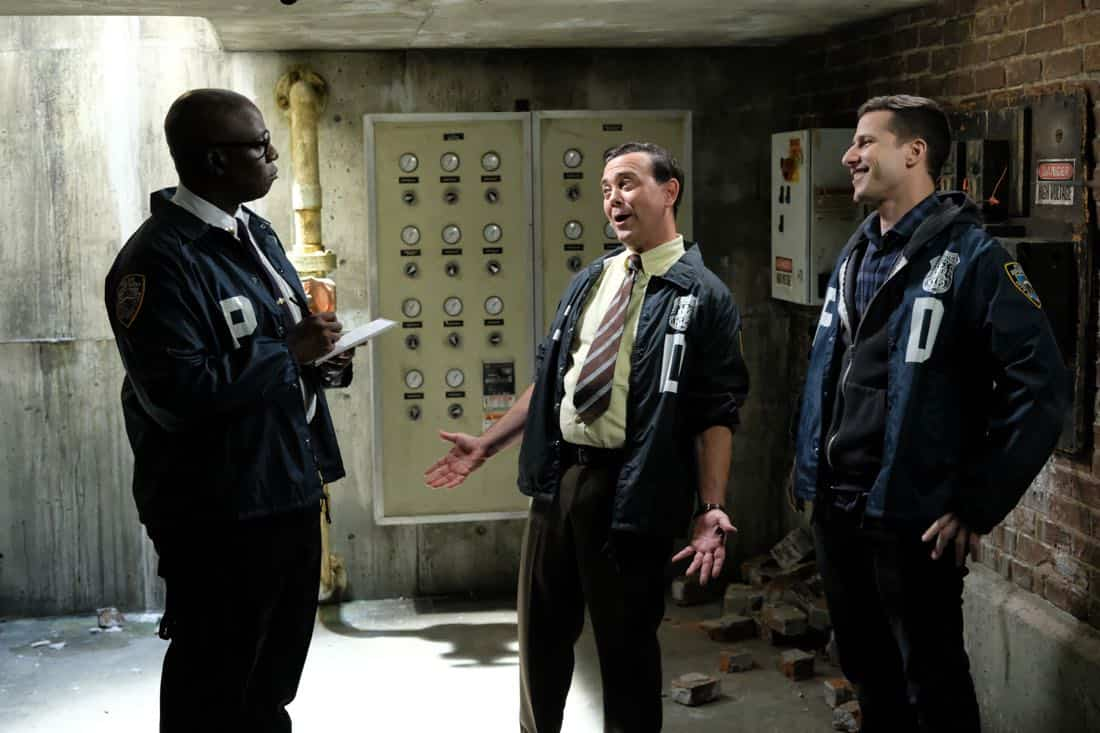 "BROOKLYN NINE-NINE: L-R: Andre Braugher, Joe Lo Truglio and Andy Samberg in the ""Kicks"" episode of BROOKLYN NINE-NINE airing Tuesday, Oct. 10 (9:30-10:00 PM ET/PT) on FOX.  CR: Ray Mickshaw / FOX"