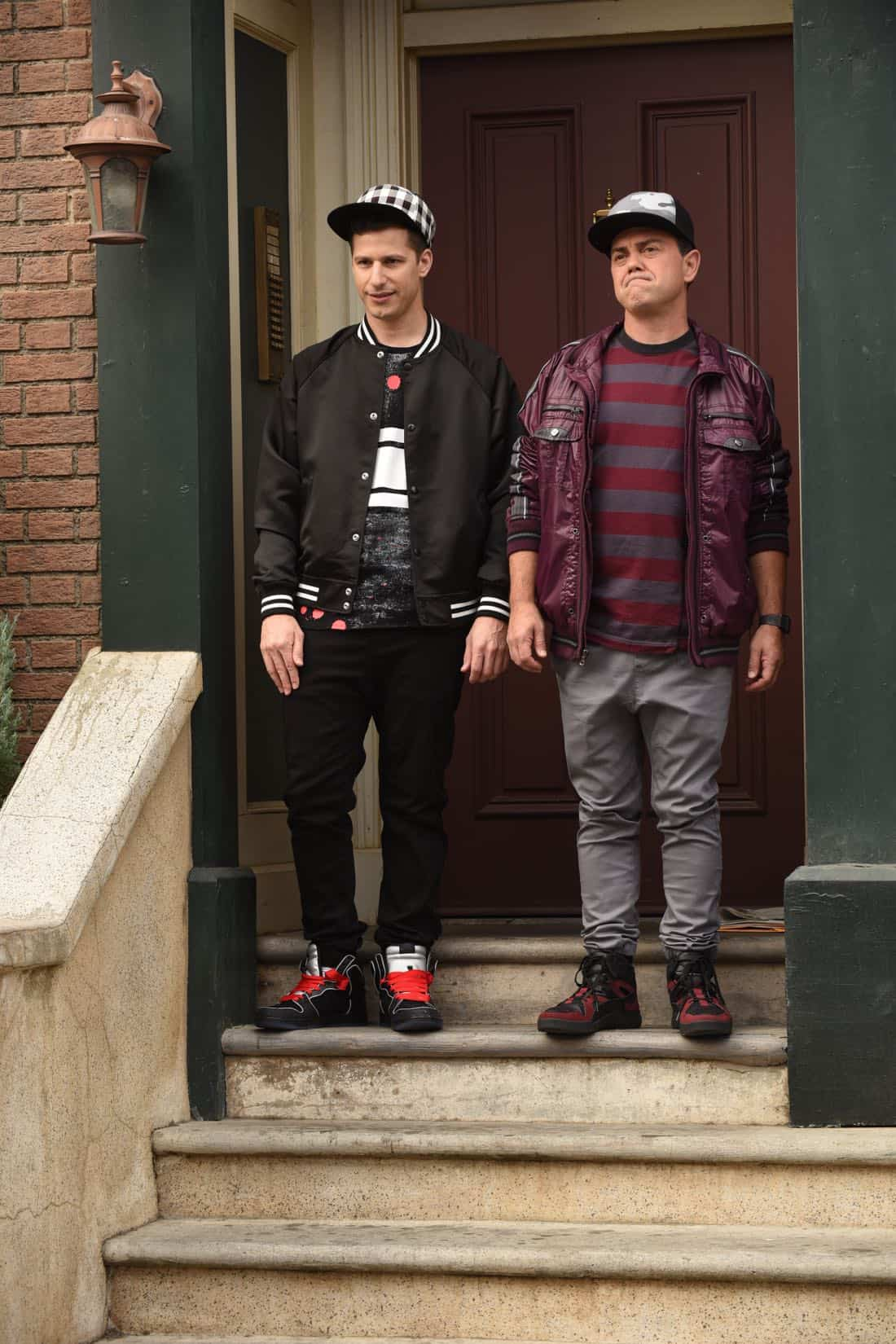 "BROOKLYN NINE-NINE: L-R: Andy Samberg and Joe Lo Truglio in the ""Kicks"" episode of BROOKLYN NINE-NINE airing Tuesday, Oct. 10 (9:30-10:00 PM ET/PT) on FOX. CR: Ray Mickshaw / FOX"