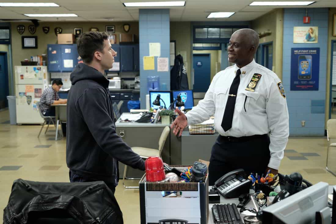 "BROOKLYN NINE-NINE: L-R: Andy Samberg and Andre Braugher in the ""Kicks"" episode of BROOKLYN NINE-NINE airing Tuesday, Oct. 10 (9:30-10:00 PM ET/PT) on FOX. CR: Ray Mickshaw / FOX"