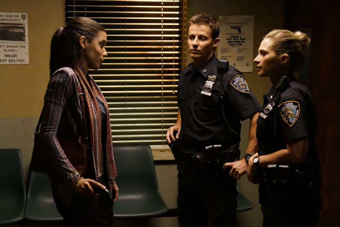 """Ghosts of the Past"" -- Frank receives an order from the mayor to attend a parade honoring a man who served time for conspiring in an attack against the police. Also, Danny investigates the return of a teen Selena Moore (Caroline Pluta), who suspiciously disappeared 13 years ago, and Jamie and Eddie try to help a young woman they believe is being exploited by Congressman Thomas (Richard Walters), on BLUE BLOODS, Friday, Oct. 6 (10:00-11:00 PM, ET/PT) on the CBS Television Network. Pictured: Massiel Mordan, Will Estes, Vanessa Ray. Photo: John Paul Filol/CBS ©2017 CBS Broadcasting, Inc. All Rights Reserved"