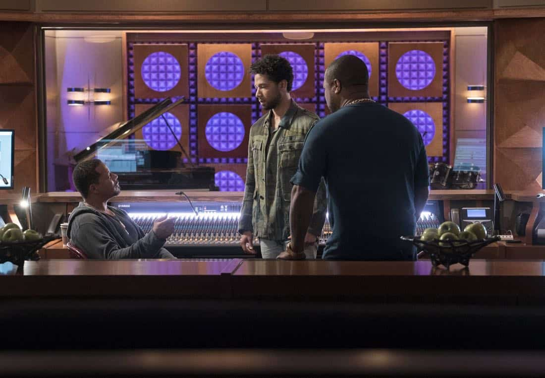 """EMPIRE: Pictured L-R: Terrence Howard, Jussie Smollett and Xzibit in the """"Evil Manners"""" episode of EMPIRE airing Wednesday, Oct. 11 (8:00-9:00 PM ET/PT) on FOX. ©2017 Fox Broadcasting Co. CR: Jean Whiteside/FOX"""