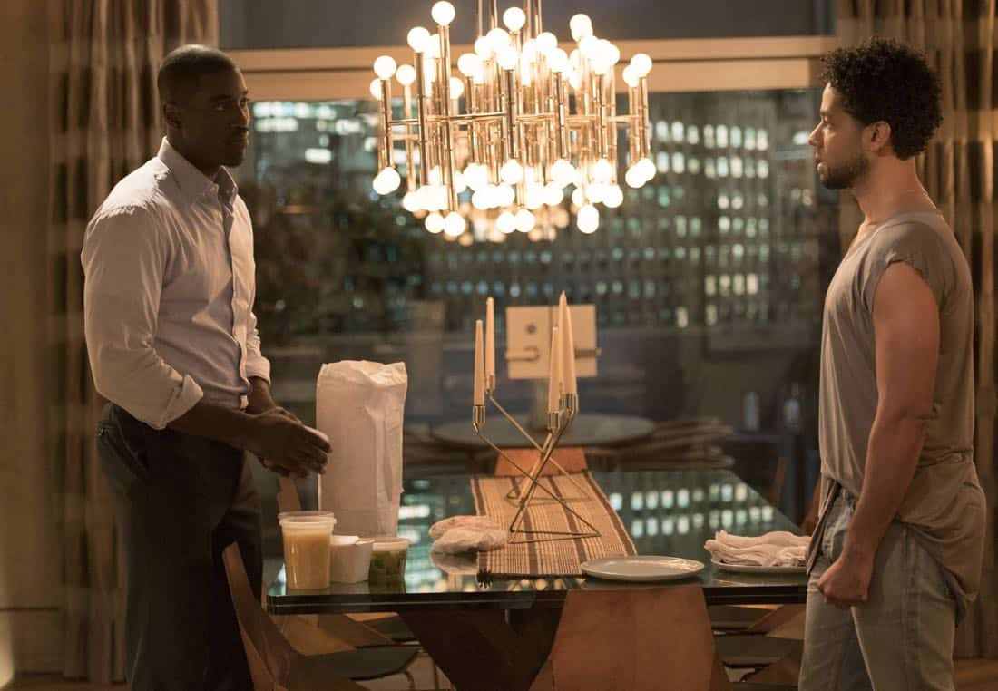 """EMPIRE: Pictured L-R: Terrel Carter and Jussie Smollett in the """"Evil Manners"""" episode of EMPIRE airing Wednesday, Oct. 11 (8:00-9:00 PM ET/PT) on FOX. ©2017 Fox Broadcasting Co. CR: Jean Whiteside/FOX"""